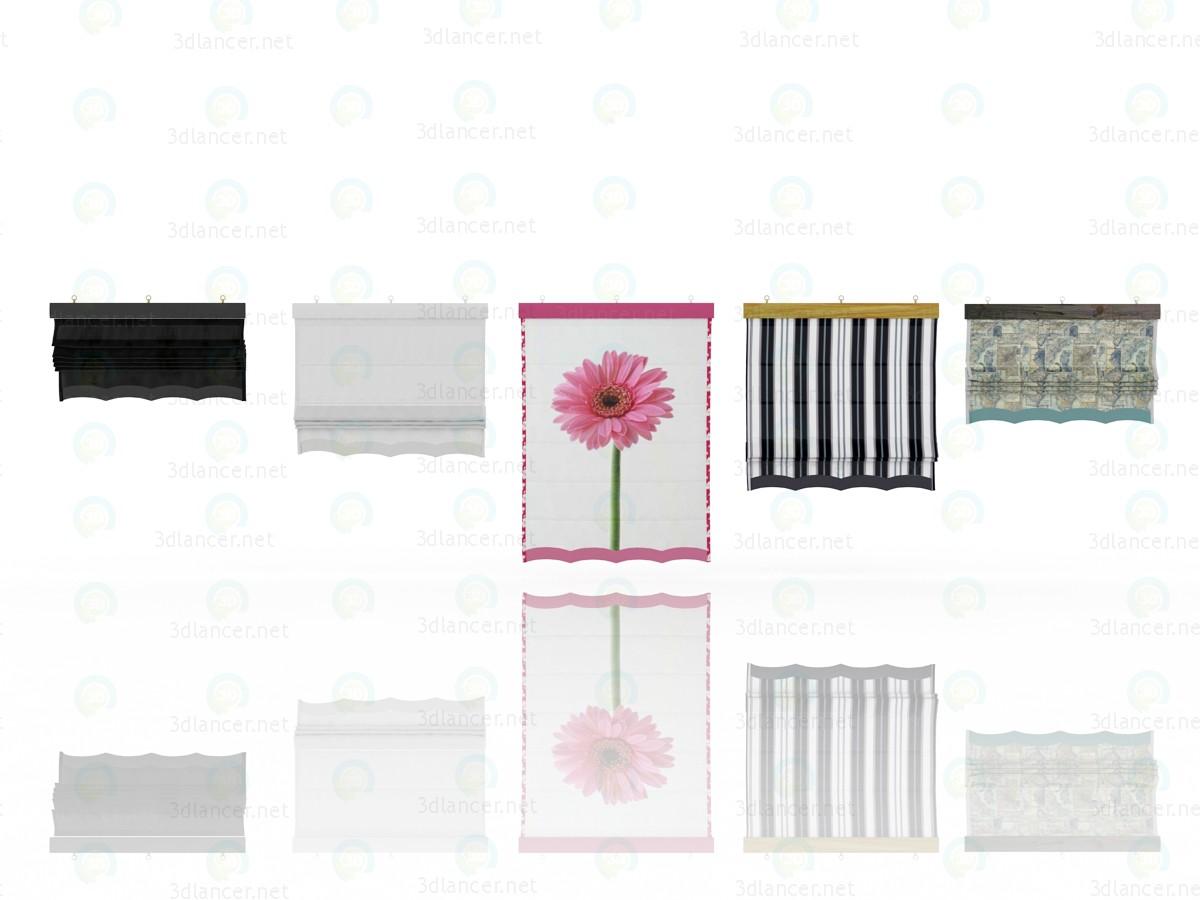 3d П'ять різних римських штор з п'ятьма різними шейдерами модель купити - зображення