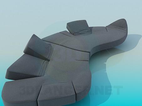 modelo 3D Sofá con respaldo movible - escuchar