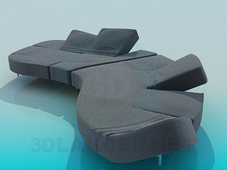 3d model Sofa with movable backrest - preview