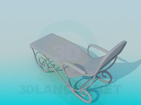3d модель Топчан с подлокотниками – превью