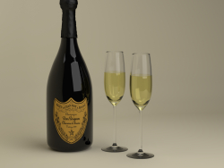 Champagne Dom Perignon Charme D'Irene Vintage 1979 and glasses