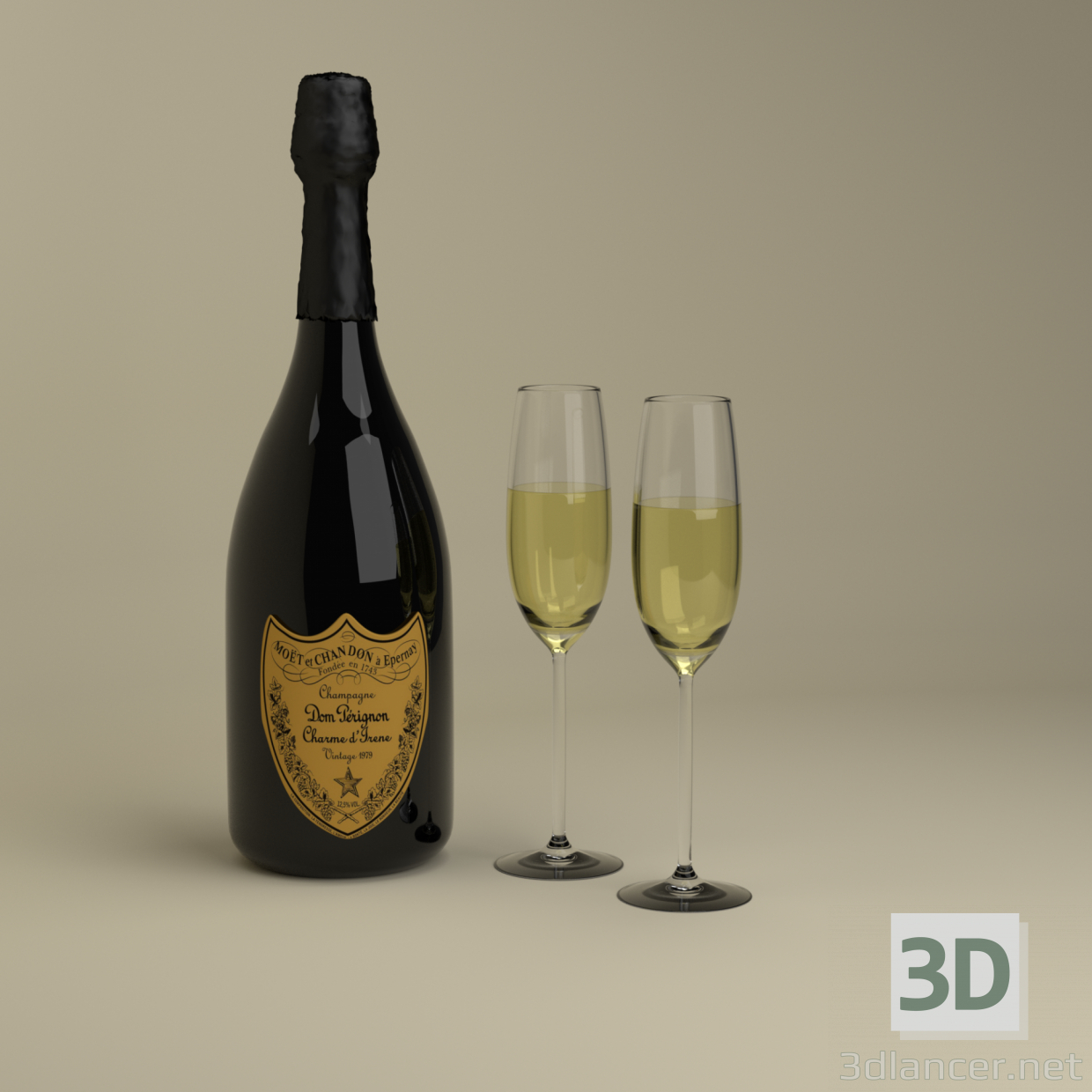 3d Champagne Dom Perignon Charme D'Irene Vintage 1979 and glasses model buy - render