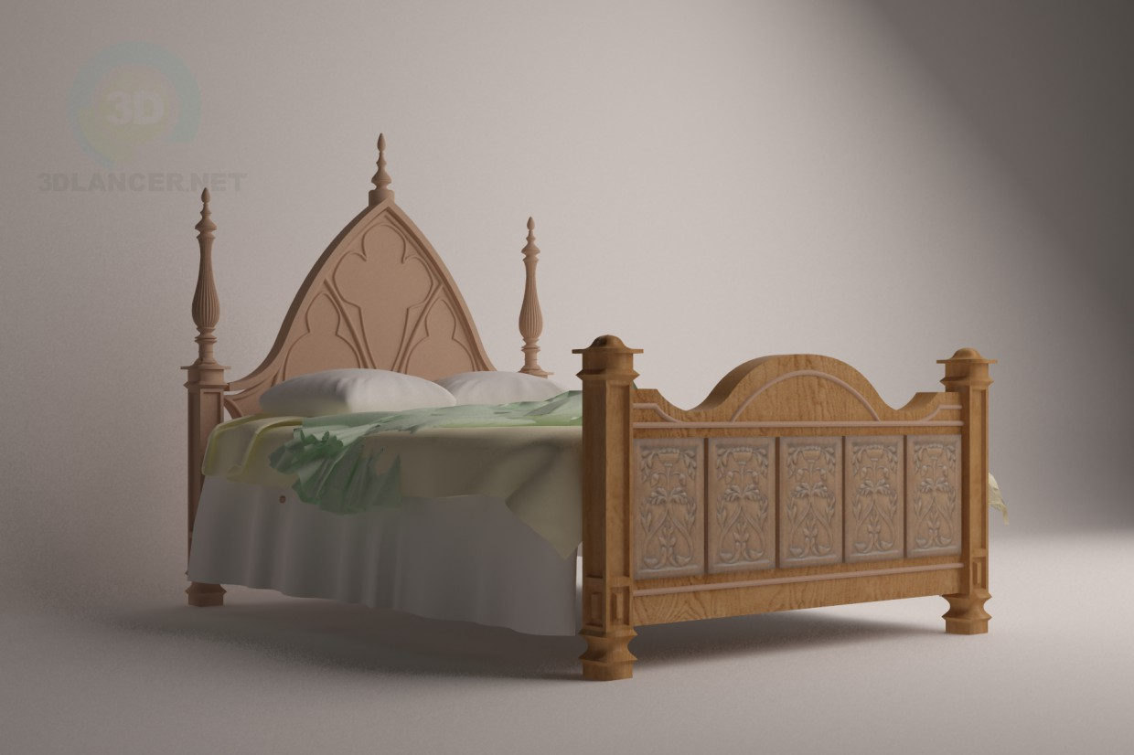 3d model Bed in Gothic style - preview