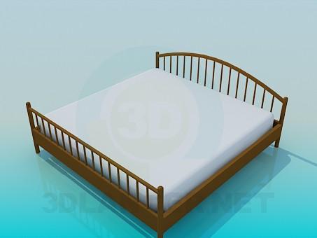 3d модель Двуспальная кровать с деревянными быльцами – превью
