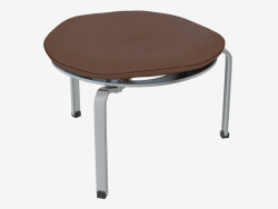Three-legged stool with leather cushion PK33