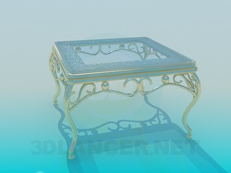 3d model Coffee table with gold legs - preview