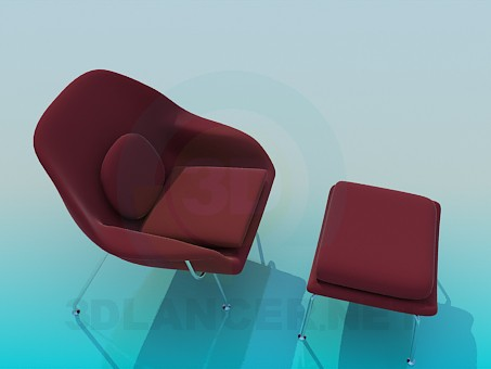 3d modeling Chair and ottoman set model free download