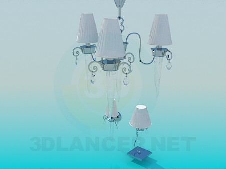 3d modeling Chandelier, sconces and light bulb included model free download
