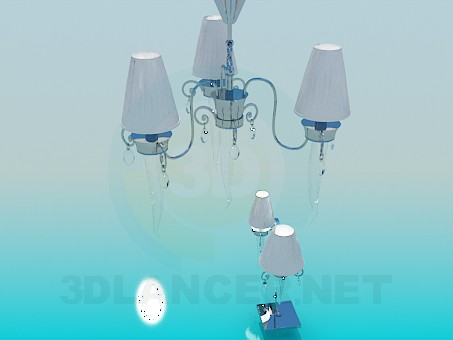3d model Chandelier, sconces and light bulb included - preview