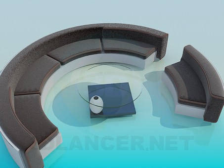 3d model Round the sofa and coffee table - preview