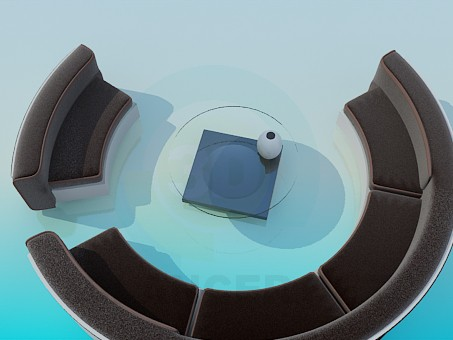 modelo 3D Ronda de sofá y mesa de centro - escuchar