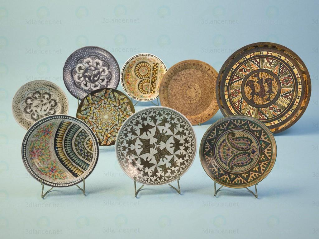 3d моделирование Декоративные тарелки модель скачать бесплатно