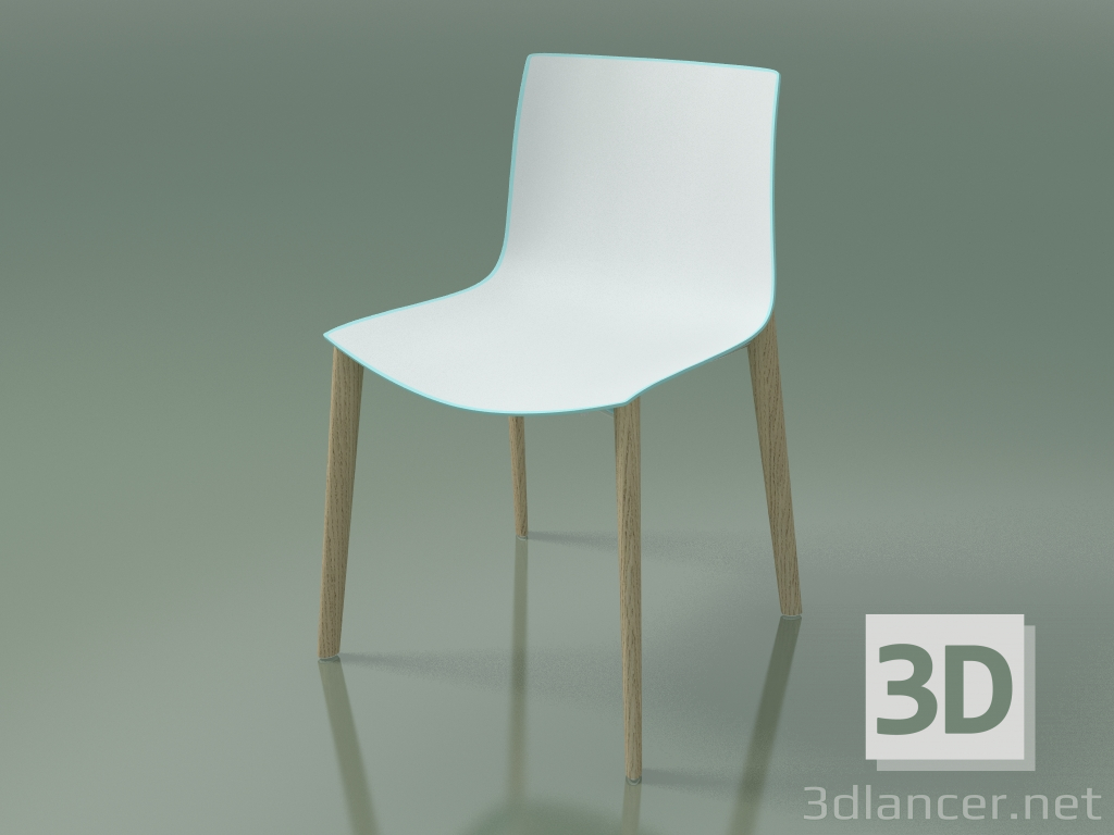 3d model Chair 0355 (4 wooden legs, two-tone polypropylene, bleached oak) - preview