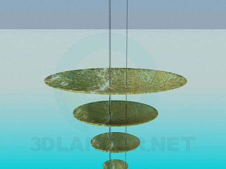 3d моделирование Люстра с металлическими дисками модель скачать бесплатно