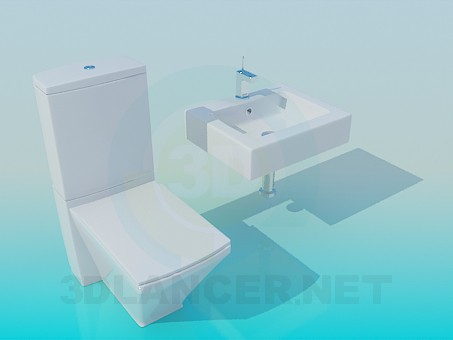 3d model Toilet and wash basin set - preview