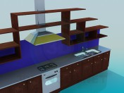 Kitchen with cooker hood and racks
