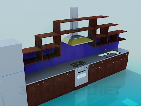 3d model Kitchen with cooker hood and racks - preview