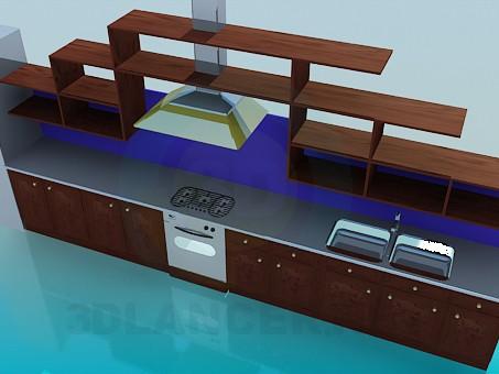 modelo 3D Cocina con campana extractora y parrillas - escuchar