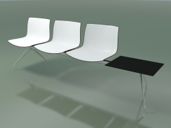 Bench 2036 (triple, with table, two-tone polypropylene)