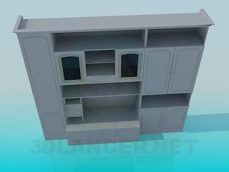 3d моделирование Мебельная стенка для гостинной комнаты модель скачать бесплатно