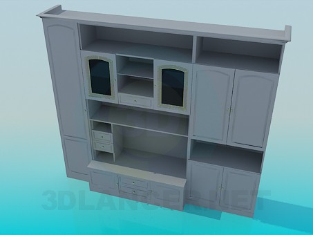 3d model Wall unit for living room - preview