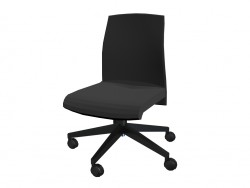 Office chair with low fixed backrest without armrests