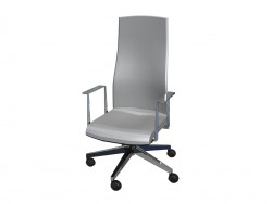 Office chair with fixed backrest and high fixed armrests