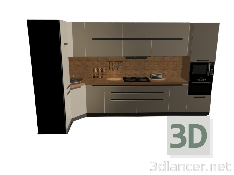 3d model kitchen set in the style of high tech id 15471 for Model model kitchen set