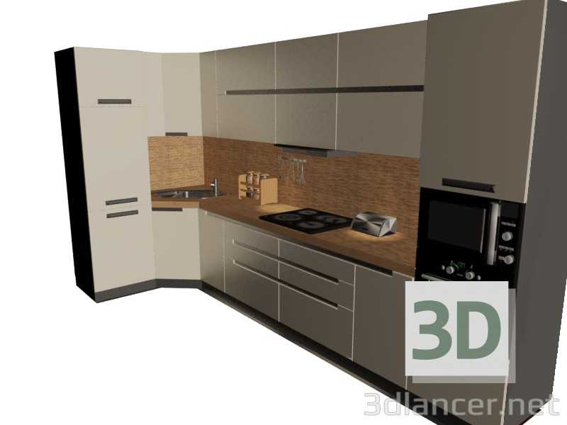 3d model kitchen set style high tech download for free for Model kitchen images