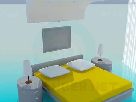 3d model Interior of bedroom - preview