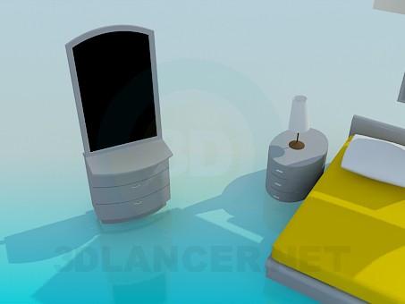 3d модель Інтер'єр в спальній кімнаті – превью