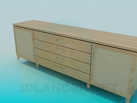 3d model Chest of drawers elongated - preview
