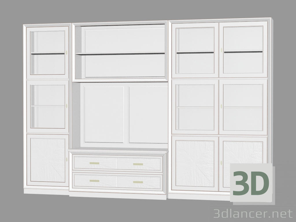 3d model Library with a place for TV LG214,Cavio max(2013