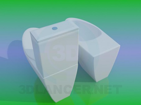 modelo 3D Inodoro y bidé - escuchar