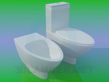3d model WC and bidet - preview
