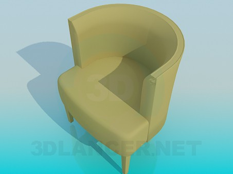 3d model Chair with vertical back - preview