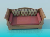 Sofa with rollers and cushions