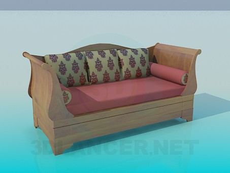 3d model Sofa with rollers and cushions - preview