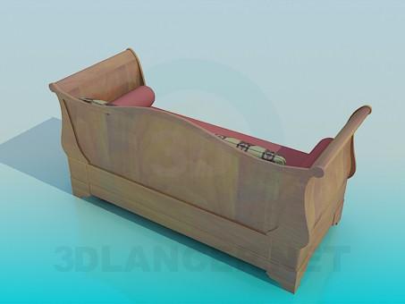 3d модель Софа с валиками и подушками – превью