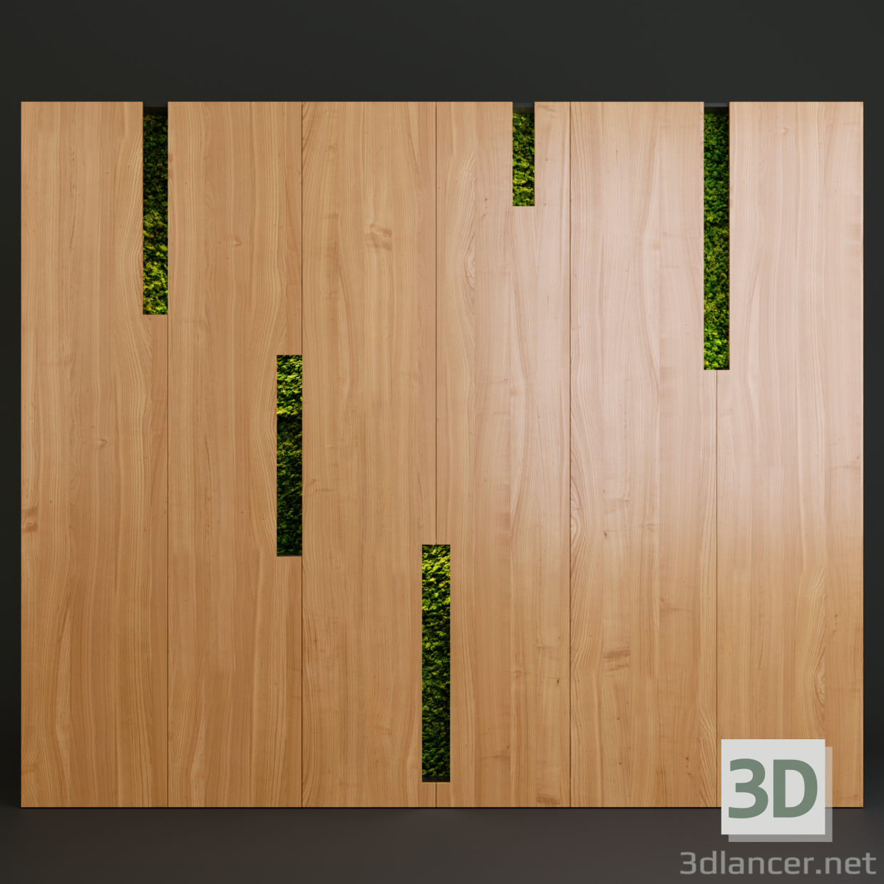 3d Wall Café with stabilized moss model buy - render