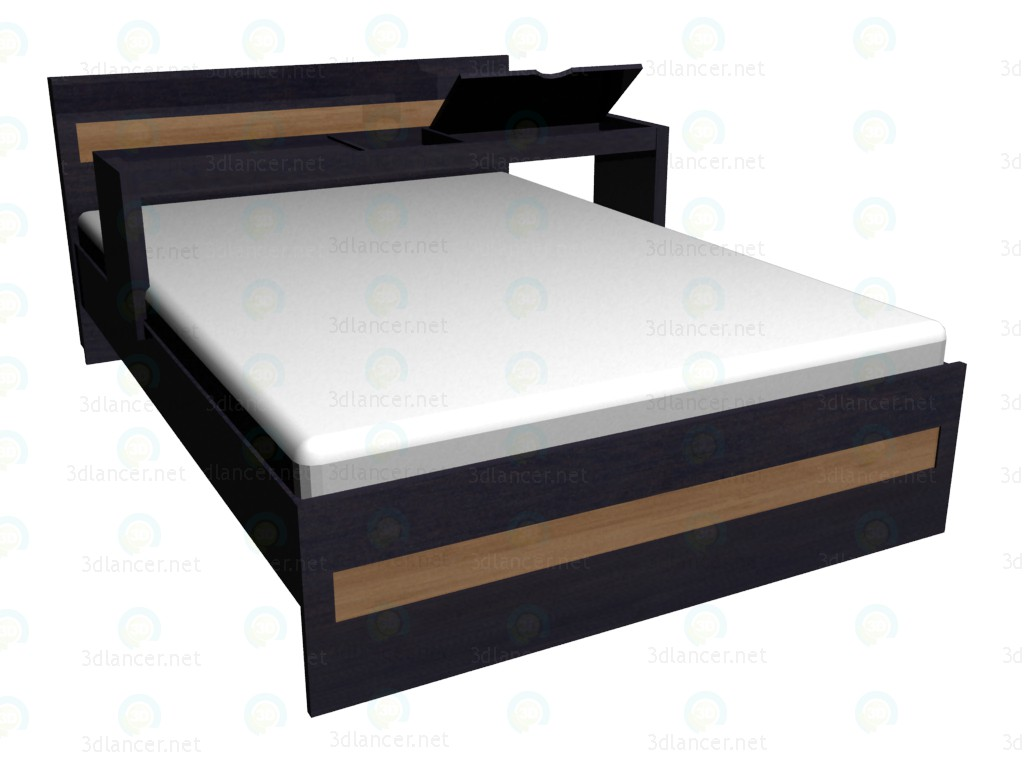 3d model Double bed 140x200 with extension - preview