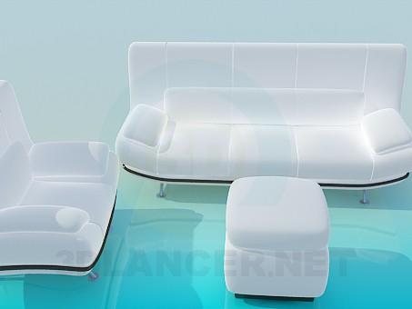 3d модель Белоснежный комплект:диван, кресло и пуфик – превью