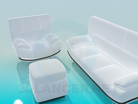 3d model Snow-white set: sofa, chair and ottoman - preview