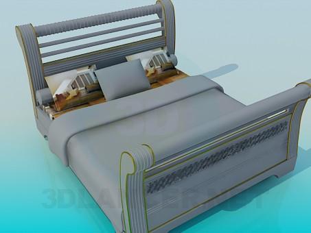 3d модель Кровать с  быльцами – превью
