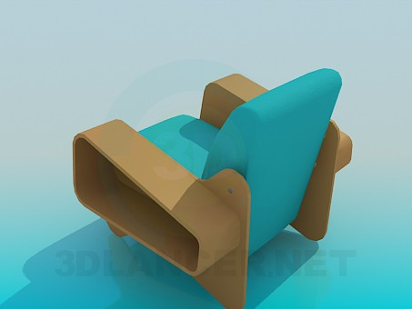 3d model Armchair with racks for newspapers and magazines - preview