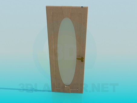 3d Model Interior Door With Oval Frosted Glass In The Style Of