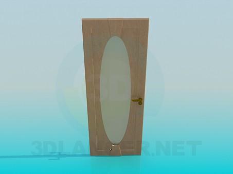 3d модель Межкомнатная дверь с овальным матовым стеклом – превью