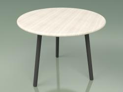 Mesa de centro 013 (piedra de metal, teca de color blanco resistente a la intemperie)