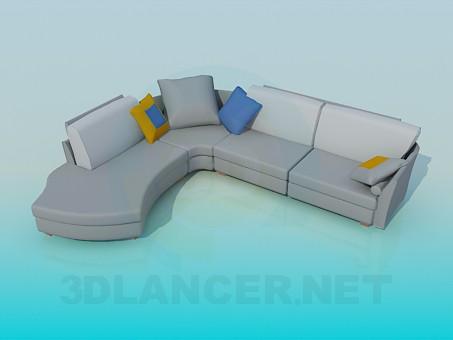 3d моделирование Угловой диван на 4 секции модель скачать бесплатно