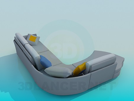 3d model Corner sofa in 4 sections - preview